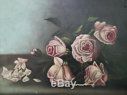 Gorgeous! Antique early 1900s Oil Painting of ROSES On Canvas