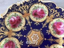 Gorgeous Cauldon England Hand Painted 1898 Roses And Gold Cabinet Plate. Signed
