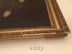 Gorgeous Huge Antique Pink Roses Oil Painting