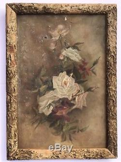 Gorgeous Old Signed Antique ROSE OIL PAINTING White ROSES on Canvas in Frame