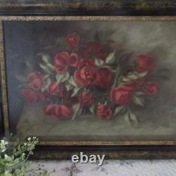 Gorgeous! Rich 19th c Antique Victorian OIL of ROSES 27x19