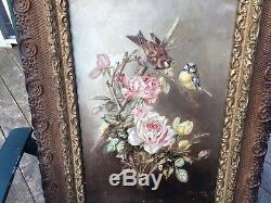 Gorgeous antique Roses & Birds painting Signed Dated 1895 Pink Pale Yellow