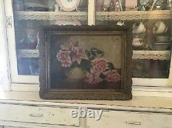 Gorgeous antique oil painting pink roses 1880-1920 wood frame