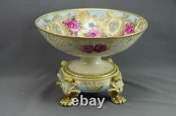 Hand Painted Nippon Raised Gold Moriage Center Bowl with Plinth Red Rose Antique