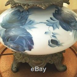 Hand Painted Parlor Lamp 3 Way Lights Gone With The Wind Blue Roses Large Tall