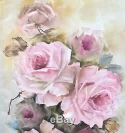 Hand Painted Pink Roses Oil 12 X 24 Canvas Shabby Chic Antique Style