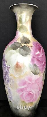 Hand-Painted Porcelain Antique Style Vase Pink/White Roses Lavender Flowers Sign