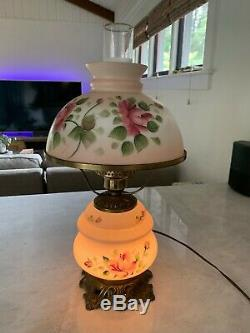 Hand Painted Victorian Hurricane Parlor Lamp