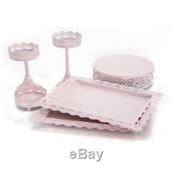 Hand-painted Pink Cake Stand Set Cupcakes Holder Set Rose Tray Along Design