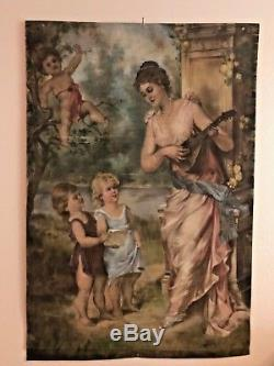 Huge Exquisite Antique Rare Hand Painted Canvas Goddess Lady Cherub Roses Signed