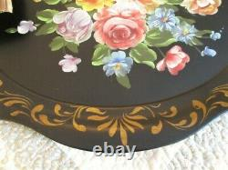 Huge Hand Painted Antique Fireplace Mantle Tole Tray-Pink Yellow White Roses