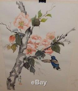 Japanese Blue Hummingbird And Roses Original Watercolor Painting Signed