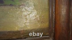LARGE VINTAGE Rose flowerS Original hand painted oil PAINTING Signed MSG 1897