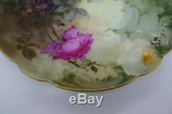 LIMOGES RARE ROSES Hand Painted Listed Artist BURDOIN Antique c. 1902 Cake Plate