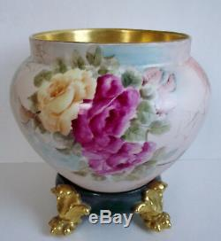 LIMOGES ROSES Artist Signed JARDINIERE Hand Painted Antique GOLD PAW FOOT PLINTH