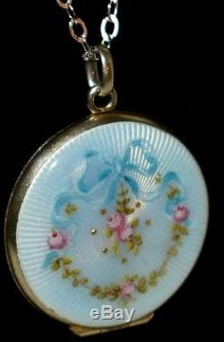 LOVELY Antique STERLING Hand Painted ENAMEL GUILLOCHE Roses & Bow LOCKET & Chain