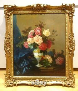 Large 19th Century French Flowers Roses In A Vase Charles MONTBLOND Antique Oil
