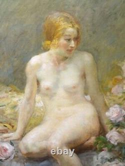 Large 19th Century French Impressionist Nude Portrait Pink Roses ANTOINE CALBET