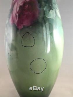 Large Antique 1900 American Belleek Hand Painted Roses Vase 14.5 SIGNED