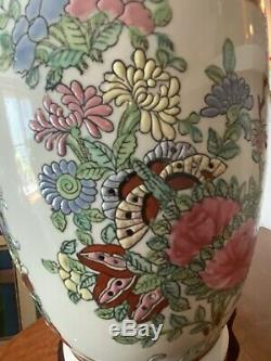 Large Antique Chinese Porcelain Vase Qianlong Famille Rose Hand Painted & Base