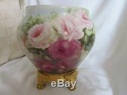 Large Antique Hand Painted Roses Limoges Jardiniere