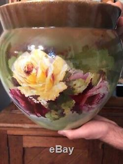 Large Antique Planter Jardinere Hand Painted Roses Stunning