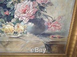 Large Antique Roses Flower Still-life Oil Painting with Gilt Frame signed dtd 1920
