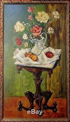 Large Original ANTIQUE WHIMSY Still Life Painting ROSES FRUIT Mid Century GOTHIC