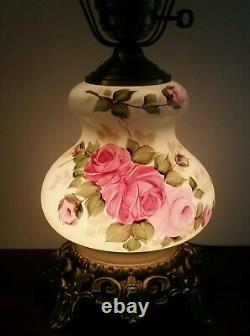 Large Vintage Gone With The Wind GWTW Hand Painted Pink Roses 3-Way Parlor Lamp