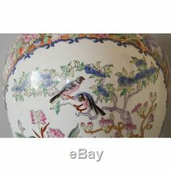 Large Vintage Hand Painted Famille Rose Porcelain Chinese Vase Red Stamp Bottom