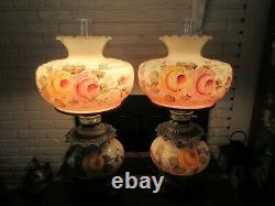 Large Vintage Pair Hurricane GWTW Hand Painted Lamps Peach Roses Floral 29