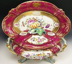Le Tallec France Hand Painted Roses Flower 16 Oval Tureen & 20 Platter/tray