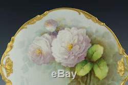 Limoges 13 Antique Hand Painted Roses Charger Plate