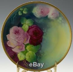 Limoges Antiques Hand Painted Roses Plate Signed A. Broussillon