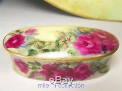 Limoges France Hand Painted Roses Jewelry Dresser Box 13 Charger & Trinket Box