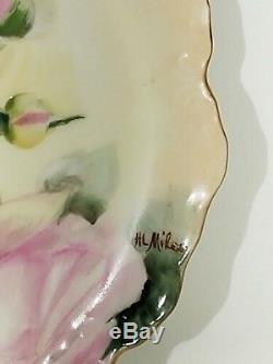 Limoges France Hand Painted Roses Signed Vanity Tray Antique