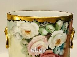 Limoges Guerin Dropping Cabbage Rose Antique Hand Painted Rare Cachepot Vase 9