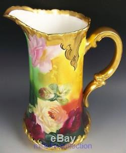 Limoges Pickard Hand Painted Roses Tall Pitcher Tankard Signed Challinor
