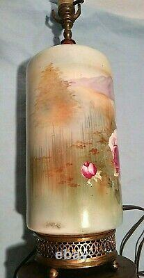Limoges Style Victorian Hand Painted Glazed Table Lamp with Roses Porcelain 22
