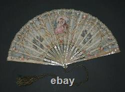 Lovely Antique French Rococo Style Mother Of Pearl Hand Painted Scene Roses Fan