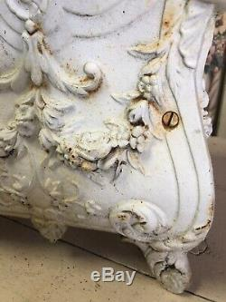 Lovely Antique Iron Planter Chippy White Paint Swags Roses #ib