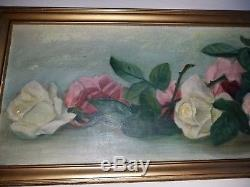 Lovely Antique Yardlong Oil Painting Roses Canvas Wood Frame Victorian Shabby