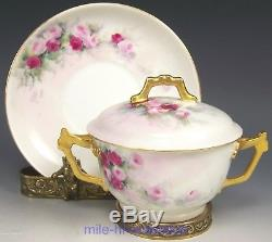 Lovely Limoges Hand Painted Roses Covered Bouillon Cup & Saucer Artist Signed