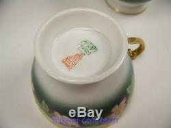 Lovely Limoges Hand Painted Roses Punch Bowl Base Punch Cups & 18.25 Tray Set