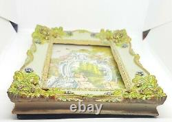 Michal Negrin Vintage Style Roses Love Swarovski Picture frame hand painted /1