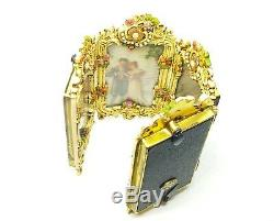 Michal Negrin Vintage Style Roses Love Swarovski Picture frame hand painted /4