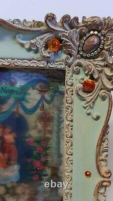 Michal Negrin Vintage Style Roses Love Swarovski Picture frame hand painted /8