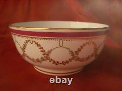 Minton, Antique English Hand Painted Porcelain Dish With Its Plate, XIX Century