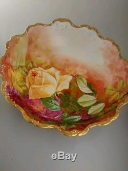 Nice antique Limoges LDBC France hand painted rose bowl