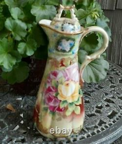 Nippon Antique Cocoa/Chocolate Pot Hand Painted Roses Florals Gold Trim Unusual